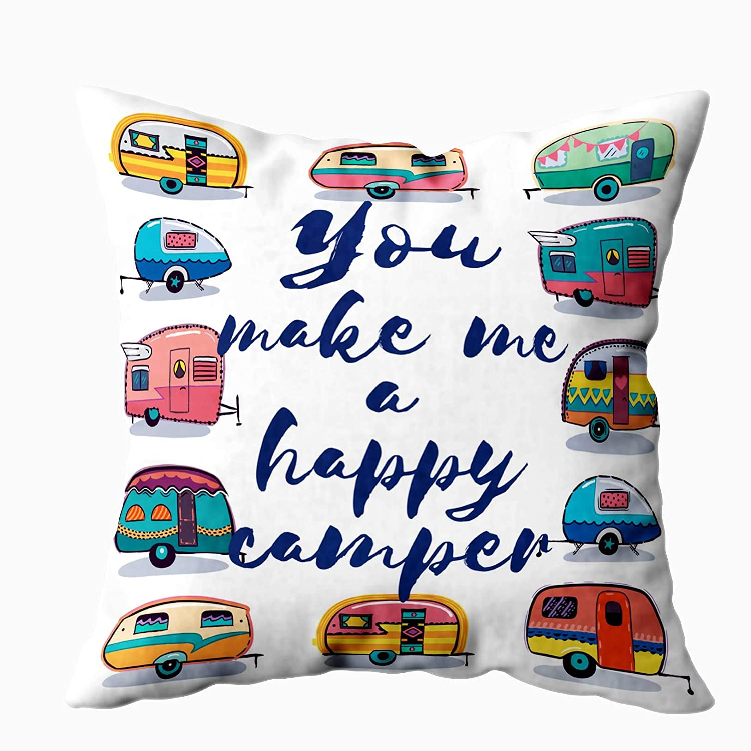 EMMTEEY Camping Zip Pillow Cover,16x16 Inch Pillow Covers Home Throw Pillow Covers for Sofa You Make me a Happy Camper Card Happy Camper Card Square Double Sided Printing,Blue White