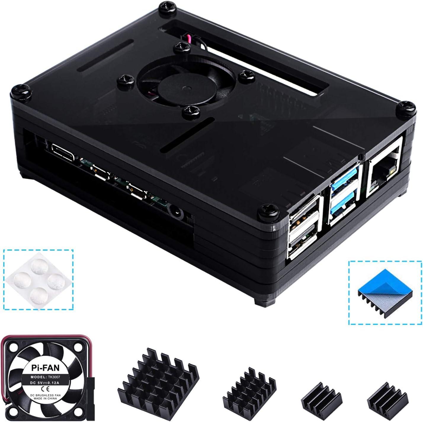 Bruphny Caja para Raspberry Pi 4, Caja con Ventilador, 4 ...