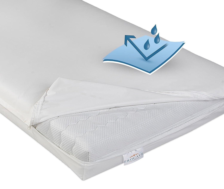 PROCAVE wasserdichter Matratzenbezug in weiß, atmungsaktiv und abwischbar 120x200 cm für Matratzen-Höhe 18 cm - Made in Germany