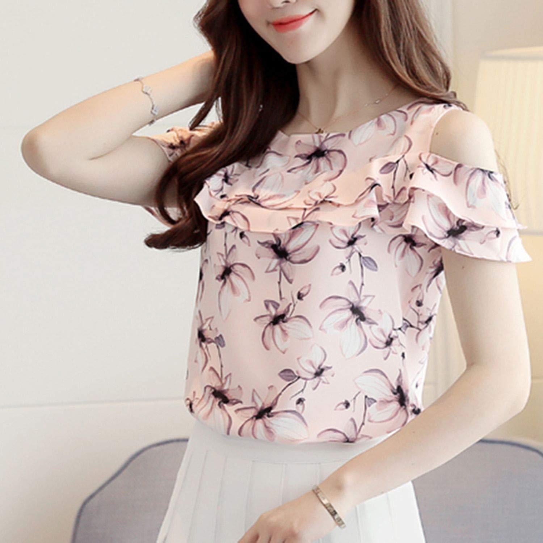 Women Shoulder Blouses Print Floral Short Sleeve Chiffon Shirts Casual Ladies Clothing Female Blusas Tops