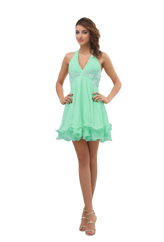 Dresstells Chic Damen Kleider Mini Chiffon Cocktailkleider Abiballkleider mit Neckholder und Applikation