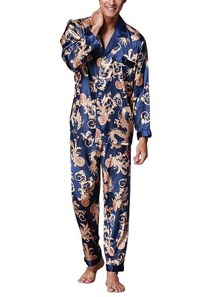 Dolamen Pijamas para Hombre Satén, Hombre largos Primavera Verano Impresión Retro, Hombre camisones Pijamas