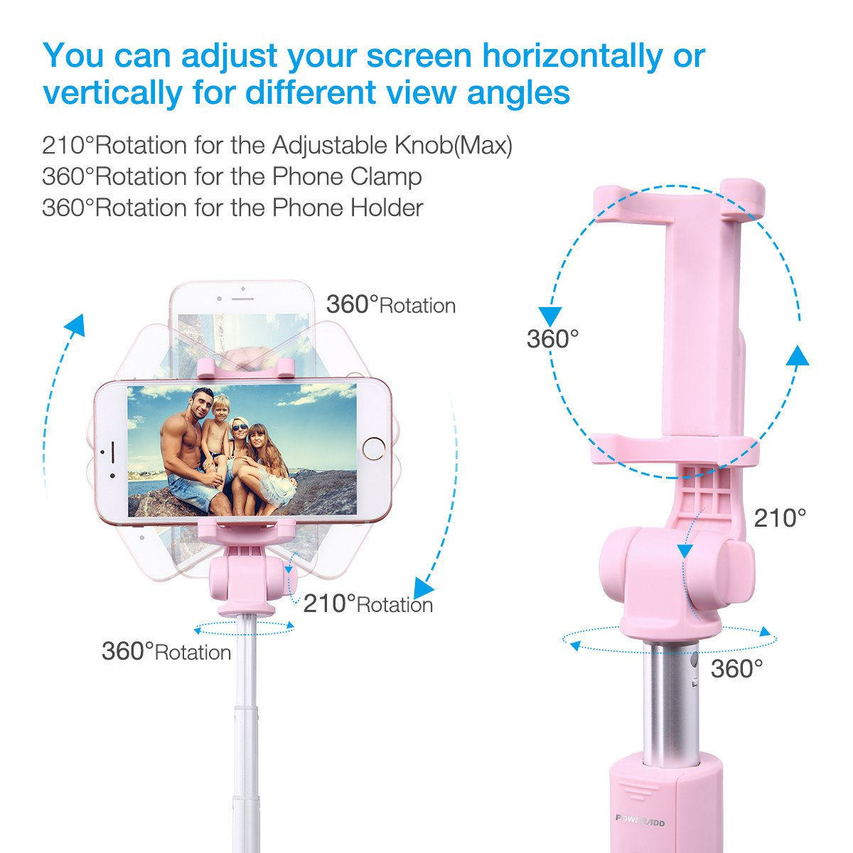 Selfie Stick Tripod,Poweradd Extendable/Foldable Aluminum Selfie Stick with Detachable/Wireless Remote for iPhone X/SE/6/6s/6 Plus/7/7 Plus/8/8 Plus/,Samsung 8/S8/S8 Plus,Nexus,LG,Moto and More-Pink by POWERADD (Image #4)