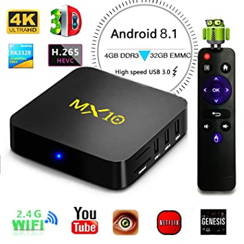 Android 8 1 TV Box, LinStar 4GB RAM 32GB ROM 4K MX10 RK3328 Quad Core WiFi  H 265 Android TV Box Smart TV Box 64 Bit Set Top Boxes 3D 4K Ultra HD TV