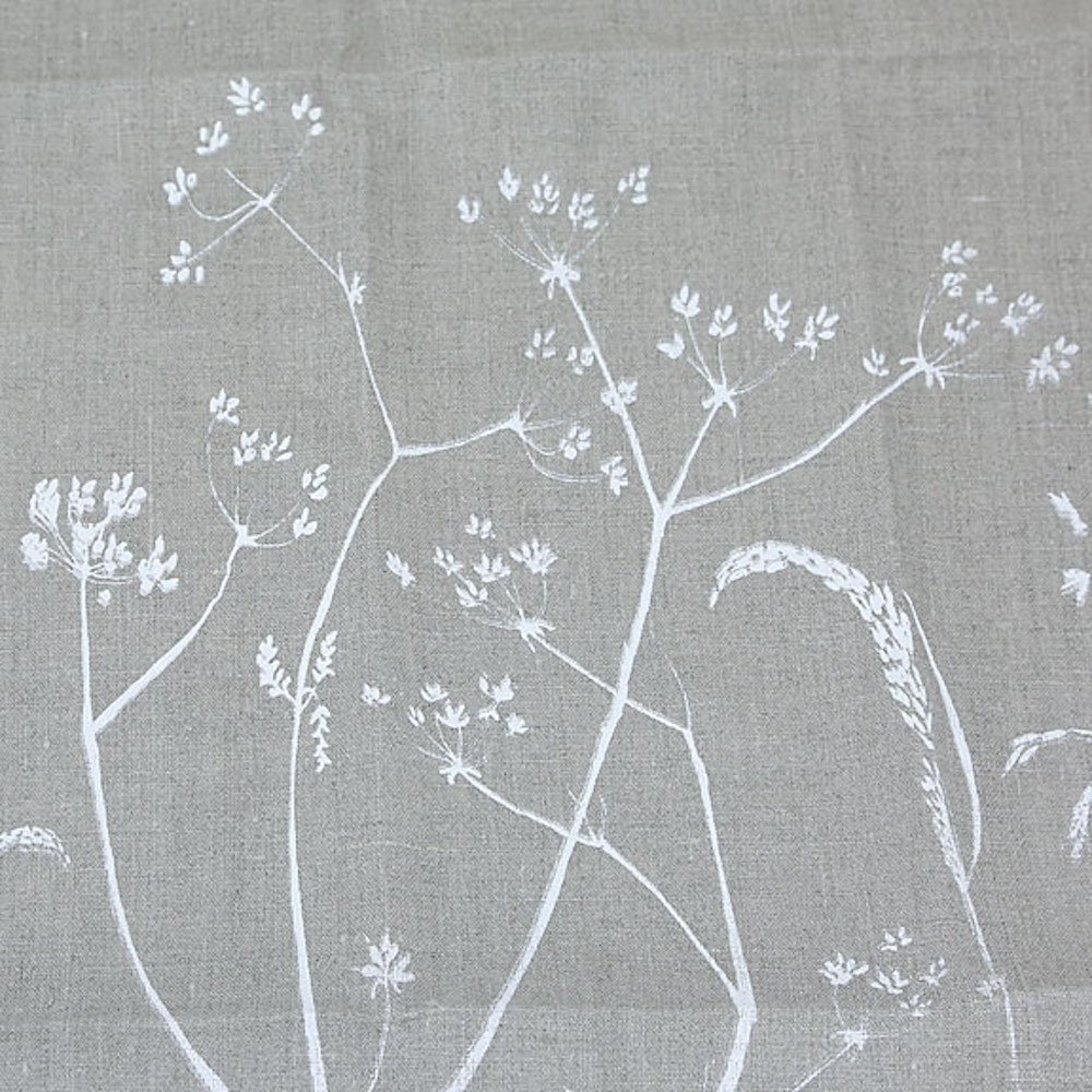 Helen Round Hand Printed Cornish Linen Tea Towel, Hedgerow Collection (Natural)
