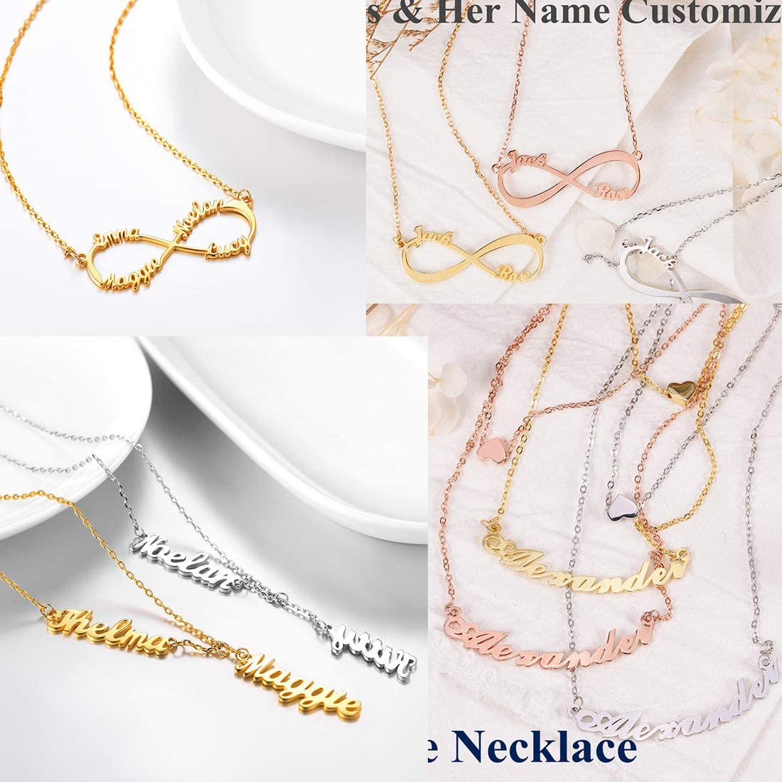 18K Gold Custom Any Name//Her Name//Double Names//Infinity 4 Family or BFF Names U7 Personalized Necklace Choker Charm Initials Naming Jewelry Platinum Chain 16-18