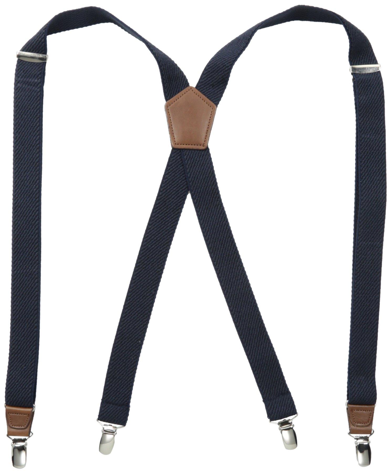 Dockers Men's Solid Suspenders,Textured Navy,One Size