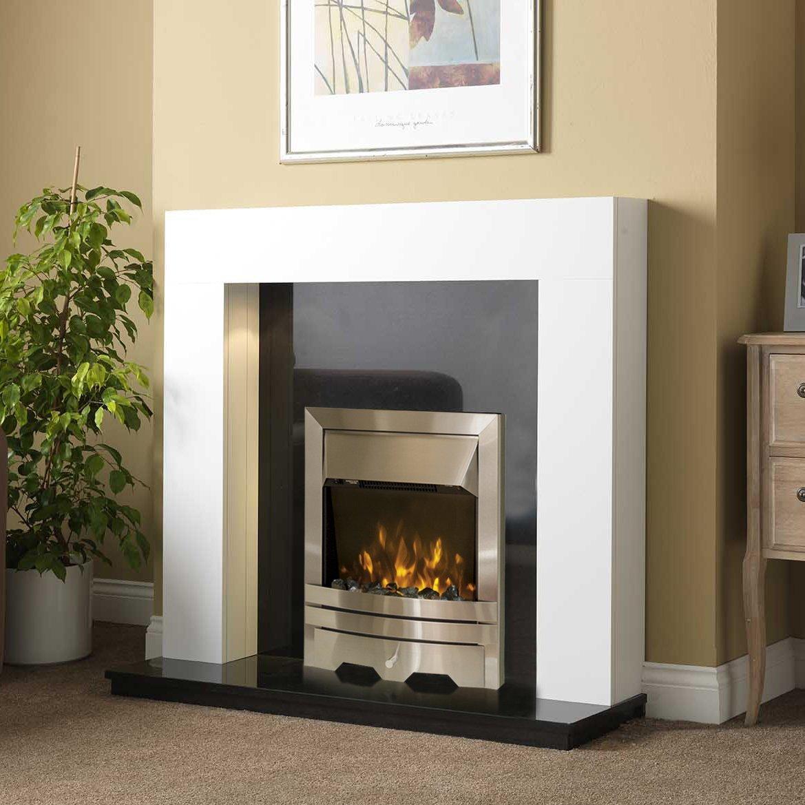 electric white surround black granite stone modern silver led