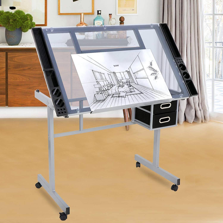 HomGarden Adjustable Drafting Drawing Table Desk Tempered Rolling Glass Top Art Craft Station Desk w/2 Slide Drawers and Castors