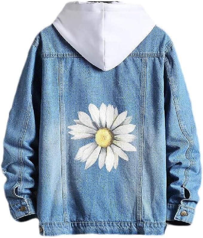 Wilngo Men Flower Print Button Front Long Sleeve Distressed Denim Jeans Trucker Jacket