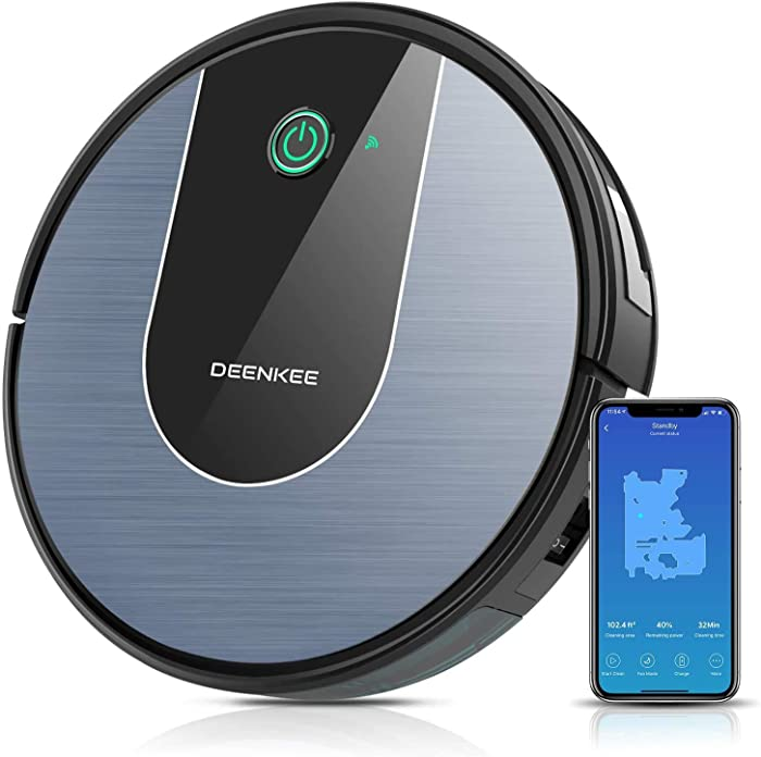 DeenKee Robot Vacuum, Wi-Fi with Alexa, High Suction, Super-Thin, Quiet, Automatic Self-Charging Robotic Vacuum Cleaner with Mapping for Pet Hair, Hard Floor, Carpet