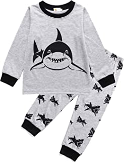 e77cdbde0 Amazon.com  EULLA Toddler Boys Cotton Pjs Cute Dinosaur Shark Pajama ...