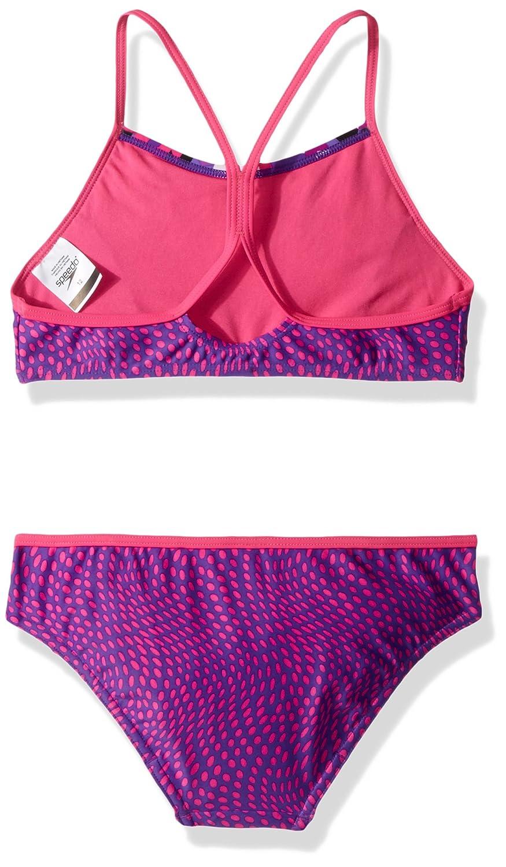 664a082caef8c Amazon.com  Speedo Big Girls Diamond Geo Splice Two Piece Swimsuit  Sports    Outdoors