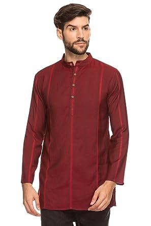 4bb16d87f2f Shatranj Men's Indian Mandarin Collar Mid-Length Tunic Kurta with Dobby  Stripe; Maroon;
