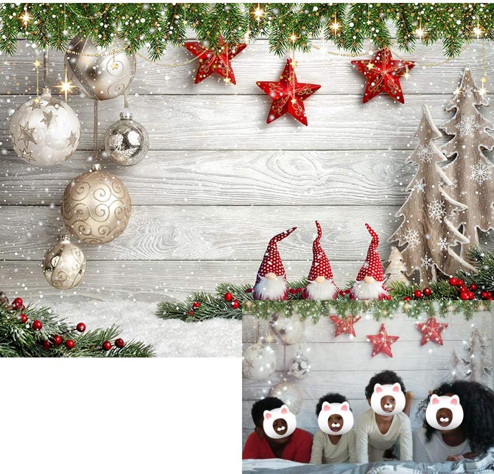 Christmas Theme Backdrop Vinyl 10x7ft Windowsill Red Ribbon Gifts Xmas Ball Snowman Lighting Lantern Pine Citrus Decorations Background Xmas Party Banner Child Kids Baby Portrait Shoot