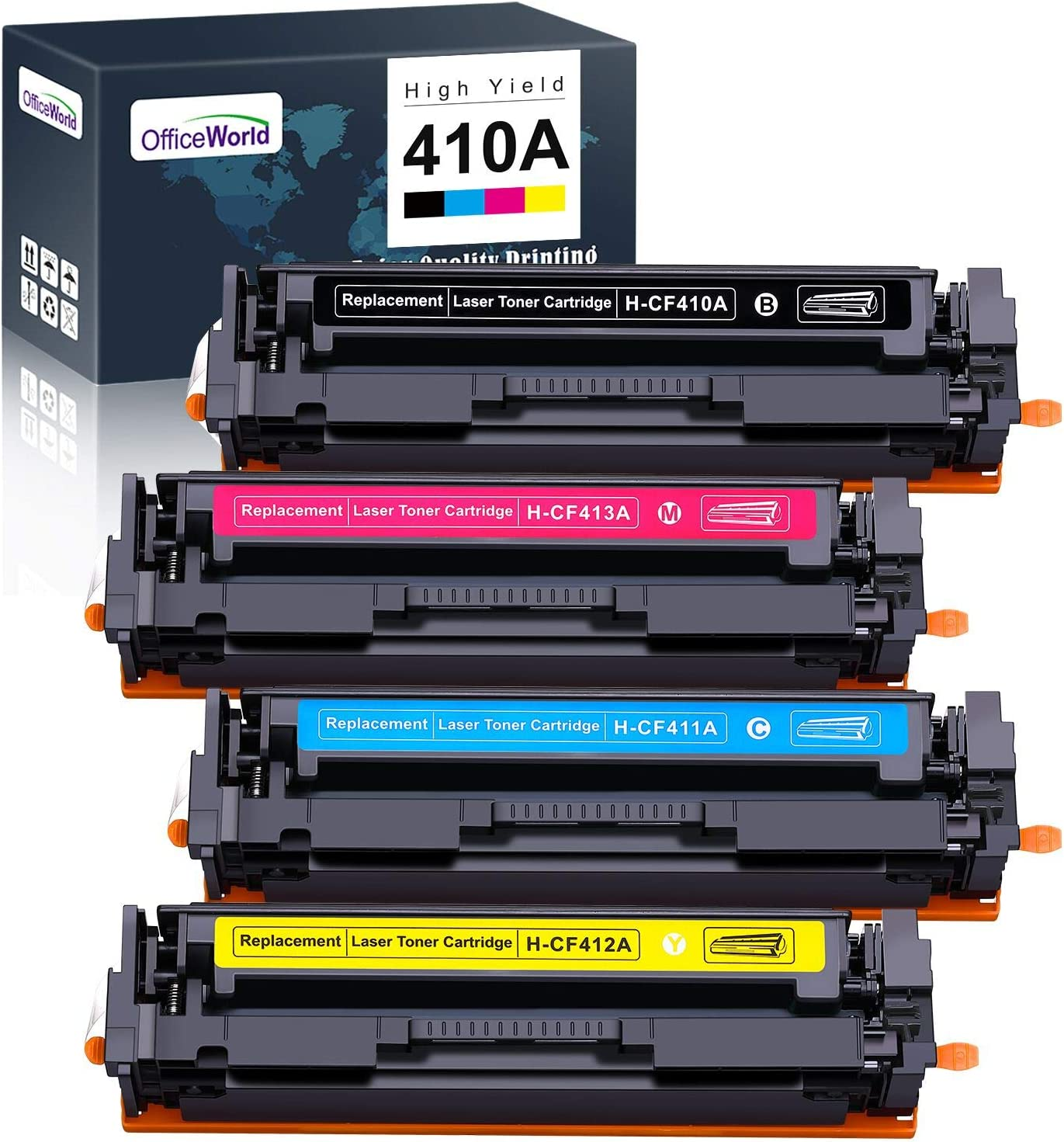 Office World Compatible Toner Cartridge Replacement for HP 410A CF410A CF411A CF412A CF413A Toner Cartridge (Black, Magenta, Yellow, Cyan) 4 Packs, Work with HP M477fnw M477fdn M477fdw M377dw M452dn