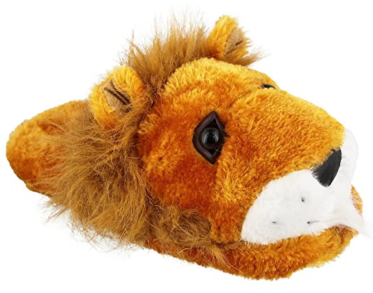 Fuzzy Lion Slippers for Adults