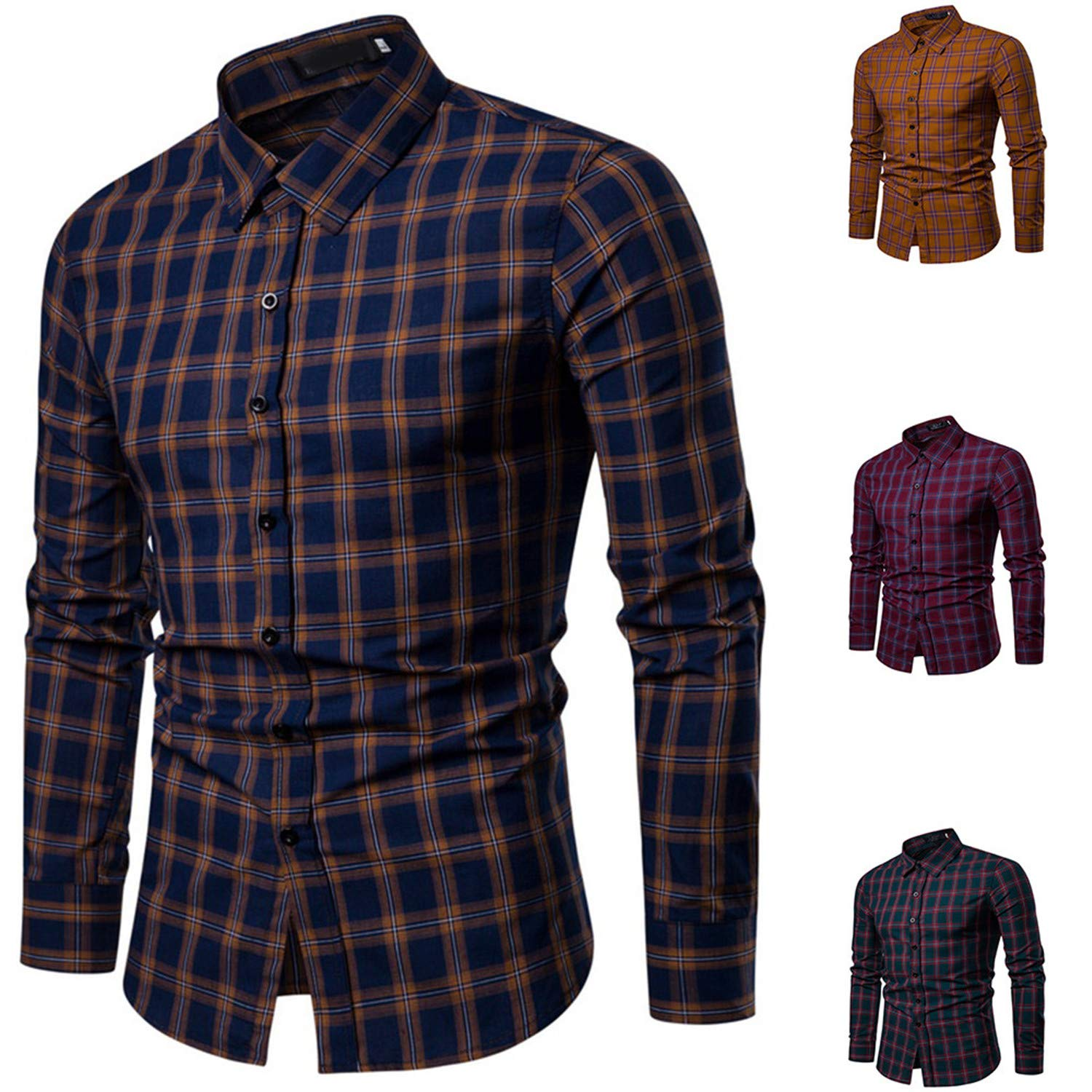 Mens Casual Long Sleeved Shirt Fashion Elegant Business Office Work Wear Blouse Navy