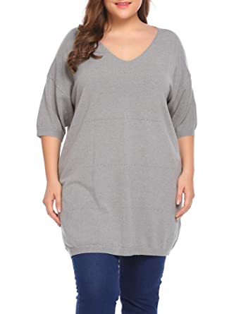 89d58380394 IN VOLAND Women s Plus Size Sweaters Casual V Neck Loose Fit Knit Sweater  Lightweight Pullover