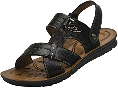 8f4c0162cd91 PPXID Men s Leather Flat Sandbeach Sandals Casual Slipper(Big Black 2 US  Size