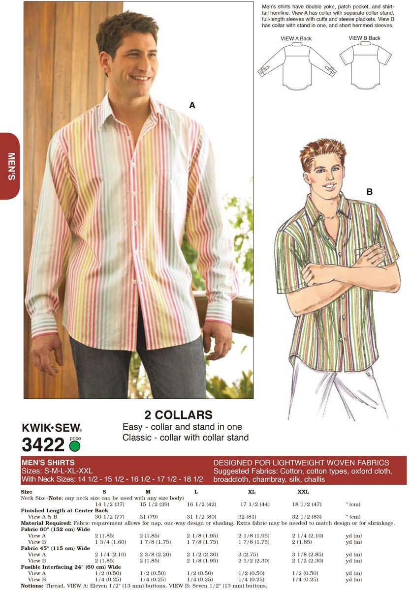 Kwik Sew 3422 - Patrón de costura para confeccionar camisas de ...