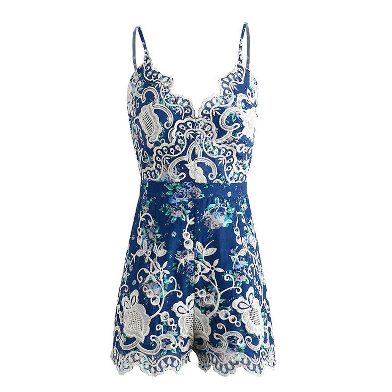 mesh v Neck Jumpsuit Women Strap Backless jumpsuitfloral Playsuit Women Blue M