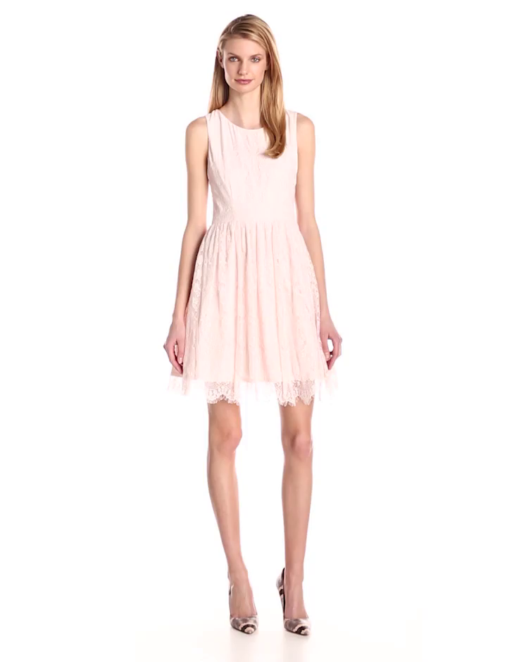 Jessica Simpson Women's Lace Fit and Flare Dress, Pale Pink, 4