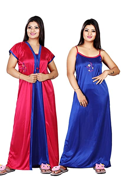 5788eb024d Trundz Women's Satin Pack of 2 pc Night Dress (1 Robe 1 Nighty): Amazon.in:  Clothing & Accessories