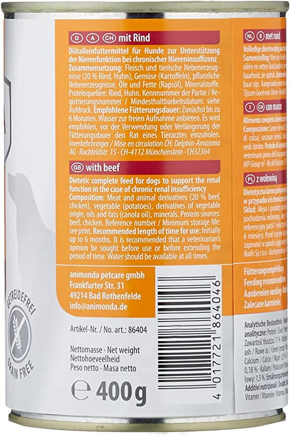Comida dietética para perros animonda Integra Protect, comida húmeda para perros con insuficiencia renal crónica, con vacuno, 6 x 400 g