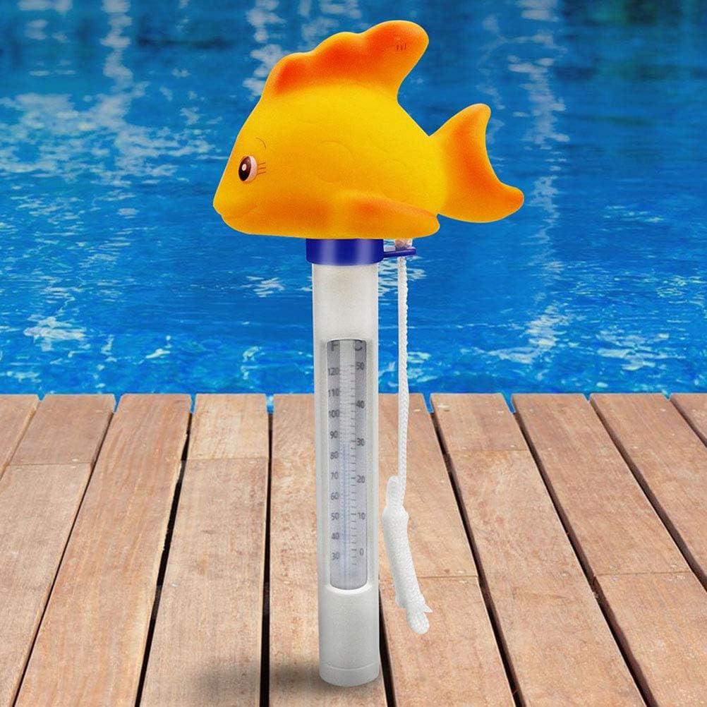 Yardwe Term/ómetro de Agua Flotante Term/ómetro Flotante de Piscina para Piscinas al Aire Libre Amarillo