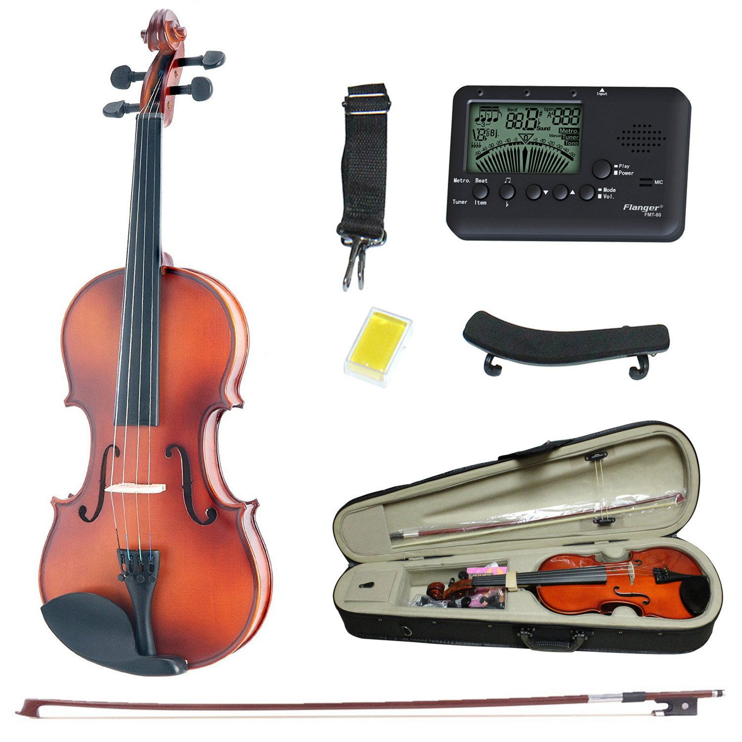 Violin 4/4 Full Size, Solid Wood Satin Antique Violin with Hard Case, Bow, Rosin - Size 4/4
