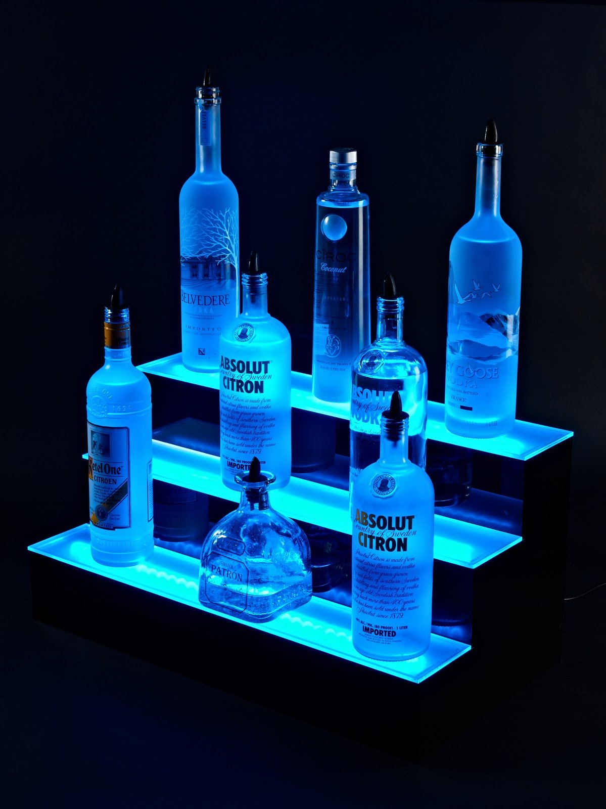 24'' inch 3 Tier Lighted Liquor Shelves Bottle Display LED |Home bar Lights by Armana Productions (Image #2)