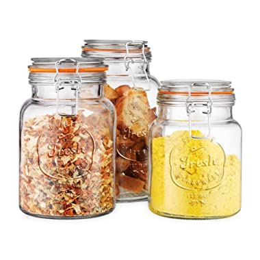 Glass Canister Fresh Set of 3 Round Jar with Hermetic Seal Bail & Trigger Airtight Lock for Kitchen - Food Storage Containers