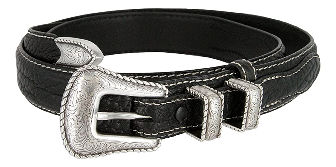 Pele Belt Men 32 mm Black Wide Genuine Leather Matching Stitches Metal Buckle