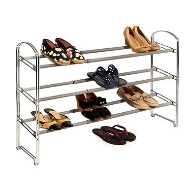 Seville Classics 3-Tier Expandable Shoe Rack, Chrome
