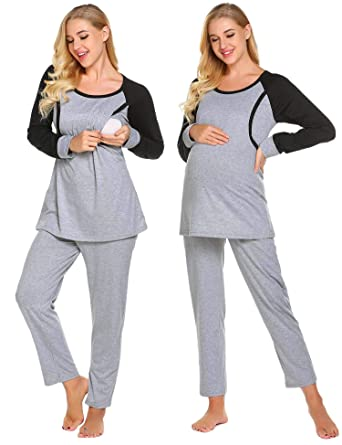 68217212bf3c8 Ekouaer Women Nursing Pajamas Hospital Maternity PJS Set Pregnancy Breastfeeding  Sleepwear,Grey,X-