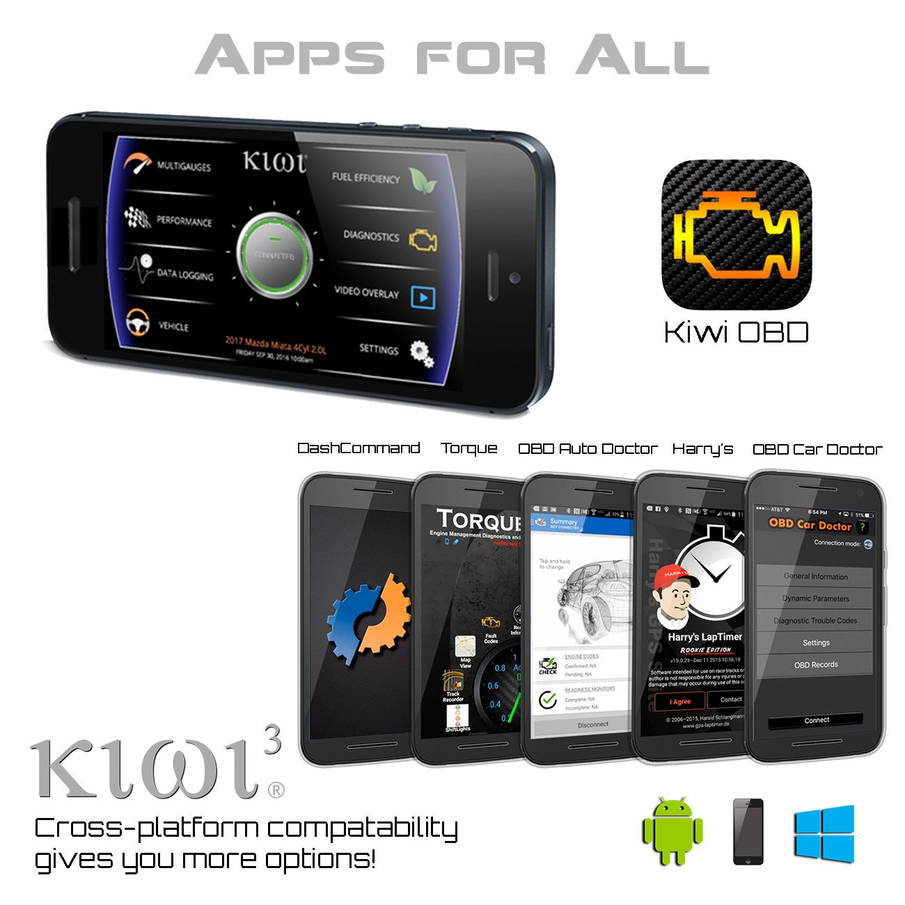 PLX Devices Kiwi 3 Bluetooth OBD2 OBDII Diagnostic Scan Tool for Android Apple Windows Mobile