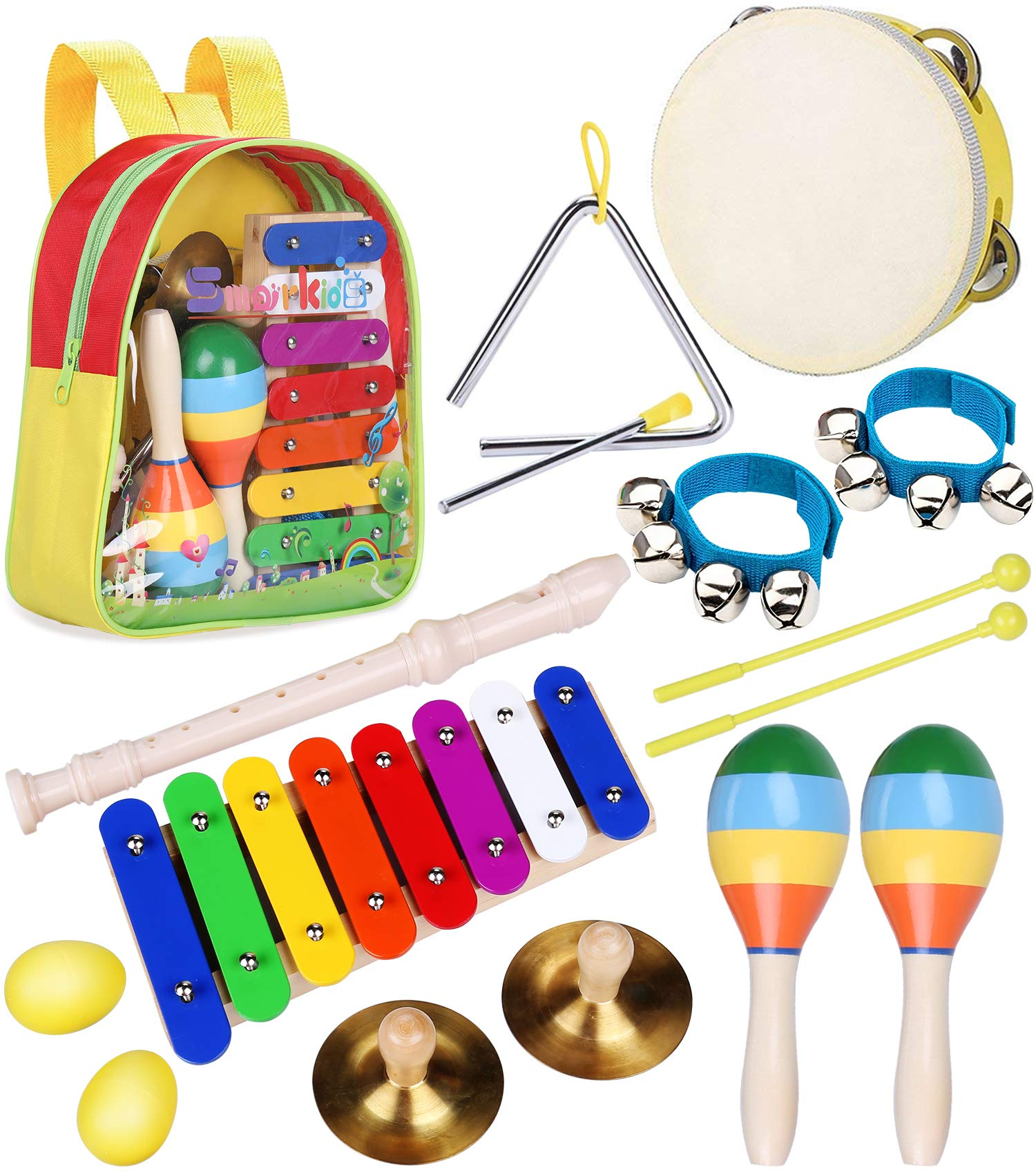 Toddler Musical Instruments Toys - Smarkids Percussion Instruments Toy Preschool Educational Musical Toys Set for Boys and Girls Including Xylophone Flute Tambourine Maracas with Backpack by Smarkids