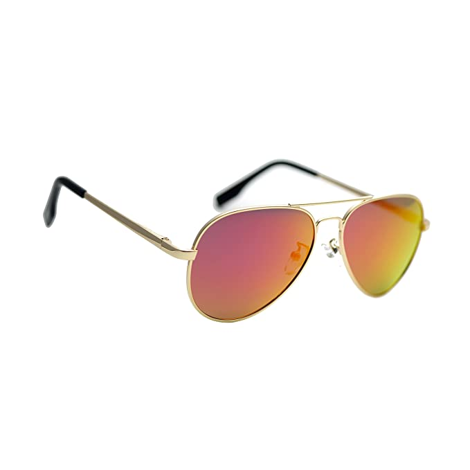 f02062c2d9 Zacway Small Polarized Spring Hinges Metal Aviator Sunglasses UV400 52mm  (Gold Frame/Mirror Orange