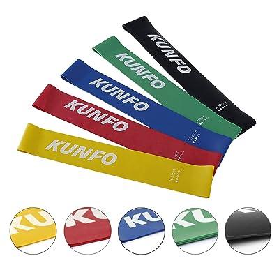 Kunfo Sport Bandes élastiques, Lot de 5Home Gym Fitness Bandes d'exercice Convient pour homme et femme pour améliorer la mobilité et la force, yoga, pilates, la rééducation