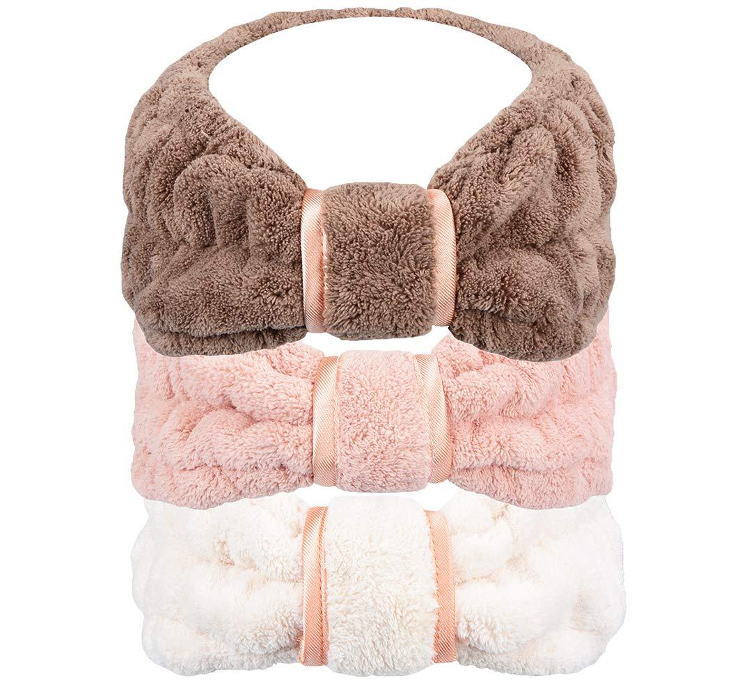 Spa Facial Headband for Washing Face Makeup Terry Cloth Headbands Elastic Whaline Head Wrap for Women Girls 3-pack HOPESHINE