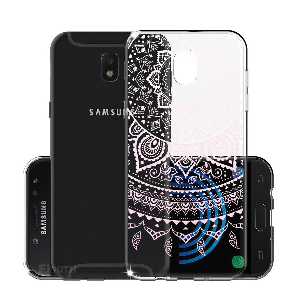 Version Europ/éenne WenJie Rose Plum Fleur Transparent Ultra Slim TPU Coque de Protection Etui Silicone Gel Case Shell pour Samsung Galaxy J3 2017