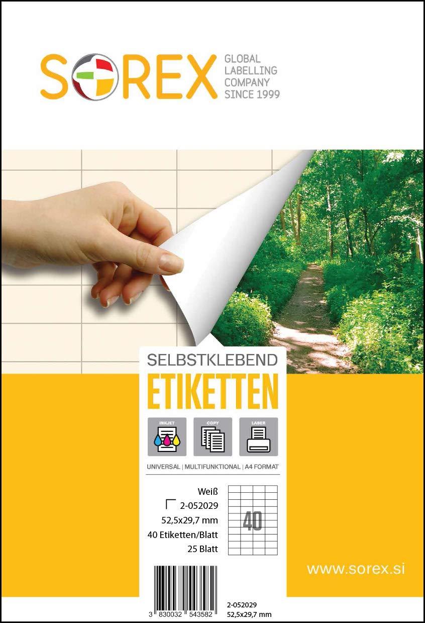 52.5 x 29,7 mm 40 etichette//fogli codice a barre adesivo di qualit/à SOREX 2-052029 25 fogli DIN A4 Etichette autoadesive universali per tutte le stampanti