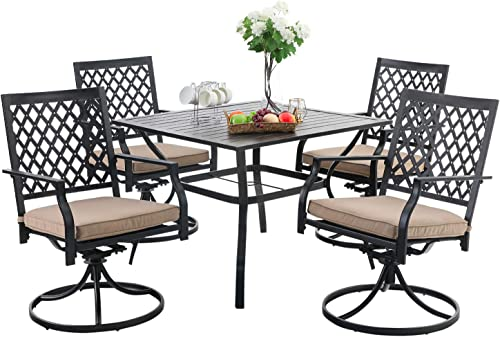 PHI VILLA 5-Piece Outdoor Patio Dining Set Club Bistro Bar Set