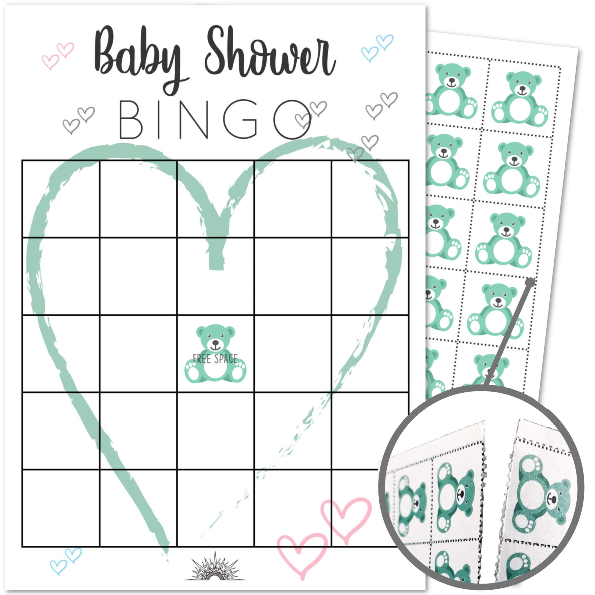 50 Pack Baby Shower Blank Gift Bingo Game Cards | Girl, Boy, Gender Neutral | Perforated Chips Included | Perfect for Sprinkles, Prizes, Favors and Decorations