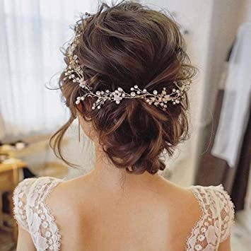 Amazon Com Catery Bride Wedding Headband Rose Gold Pearl Hair Vine Braid Headpieces Bead Bridal Hair Accessories For Women Rose Gold Beauty