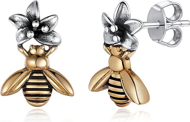 925 sterling silver Bee Flower earrings studs small tiny Womens Kids Girls