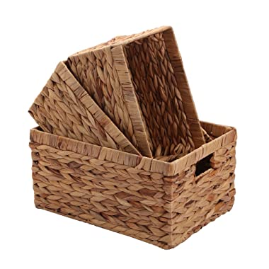 Storage Baskets,Woven Natural Water hyacinth Box with Handle,Kingwillow.(Set of 3)