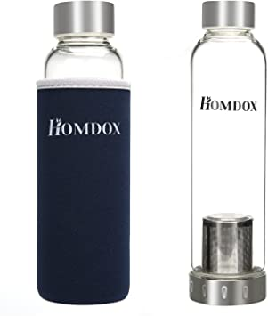 Homdox botella cristal silicona(550ml): Amazon.es: Deportes y aire ...