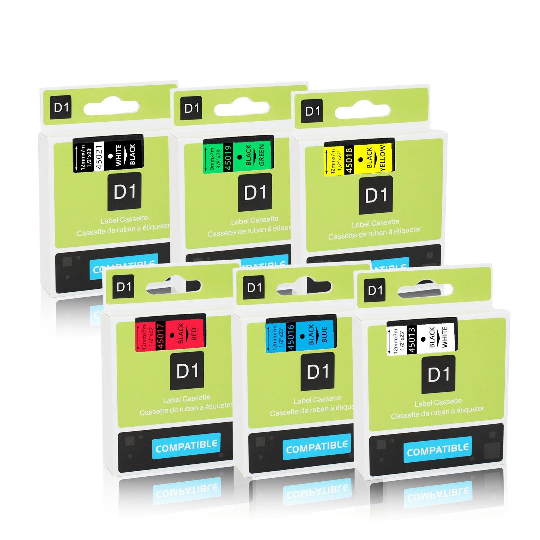 Unismar 2 Pack D1 Label Tape Compatible for DYMO D1 40913 S0720680 for Dymo Label Makers LM160 LM260P LM210D LM280 LM360D LM420P LM450D LM500TS Black on White 9mm x 7m (3/8' x 23ft) Unismar Tech